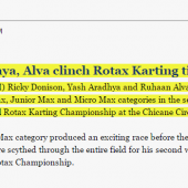 Donison, Aradhya, Alva clinch Rotax Karting titles